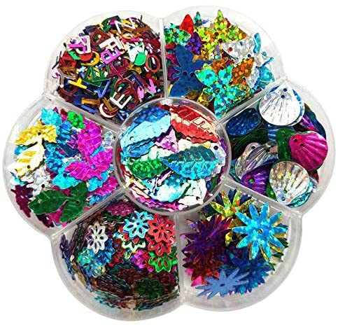 Chenkou Craft 1 Box Rainbow AB Sequin Flake for Wedding Christmas Clothes Jewelry 7 Colors Sequins Leaf Lether (Assorted of 7 Styles)