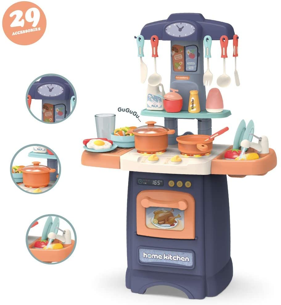 wavsurf Role Play Kids Kitchen Playset with Real Cooking and Water Boiling Sounds Non-Toxic and Safe to Use(Boy)