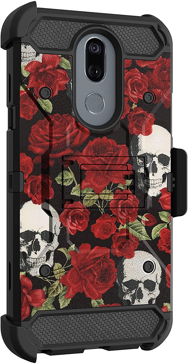 MINITURTLE Compatible with LG Stylo 5, LG Stylo 5V, LG Stylo 5 Plus Protective Holster Belt Clip Rugged Triple Layer Case Cover [Max Guard] - Rose Skulls