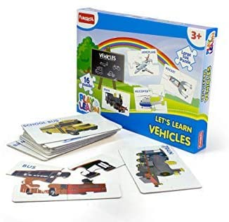 Funskool Play n Learn Vehicle : Reusable Puzzle Game for Preschoolers | Gifts for Boys and Girls 3, 4, 5, 6, 7, 8 Years