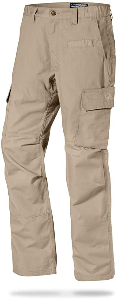 LA Police Gear Mens Urban Ops Tactical Cargo Pants - Elastic WB - YKK Zipper - Khaki - 42 x 30