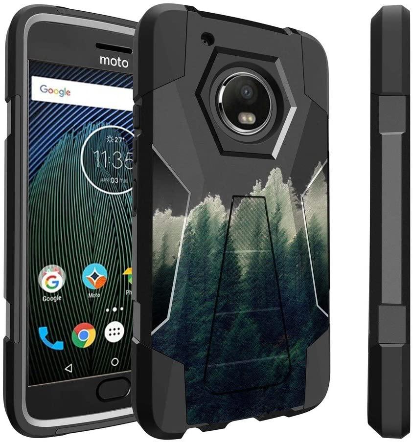 Untouchble Case for Moto G5 Plus Case  Motorola Moto G5 Plus Case [Traveler Series] Durable Two Layer Bumper Shell with Kickstand - Foggy Forest