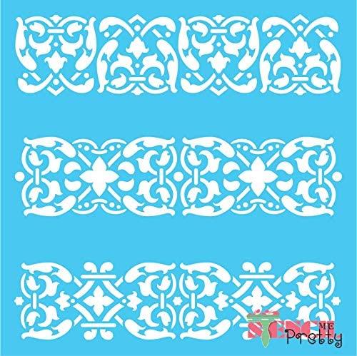 Victorian Border Stencil - Carolingian Style Continuous DIY Pattern-S (14