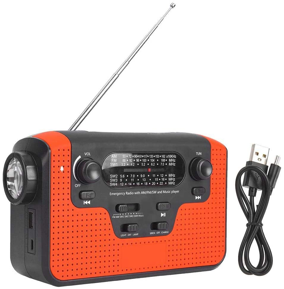 Jadeshay Emergency Weather Solar Crank AM/FM/SWC Radio with Bright Flashlight and Reading Lamp for Household Emergency and Outdoor Survival Red(Red)
