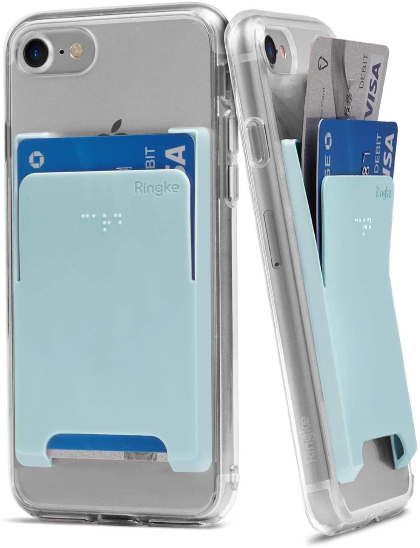 Ringke Slot Card Holder Adhesive Stick On Wallet Case Minimalist Slim Hard Premium Credit Card Cash Sleeve Compatible with Most Smartphones - Sky Blue (2 Pack)