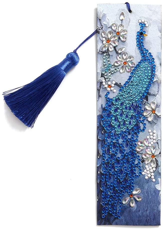 Diamond Painting Bookmarks Peacock URYKEE DIY Cross Stitch Embroidery Kit Diamond Art Full Drill Kits Diamond Art Bookmarks for Adults Kids Home Decor