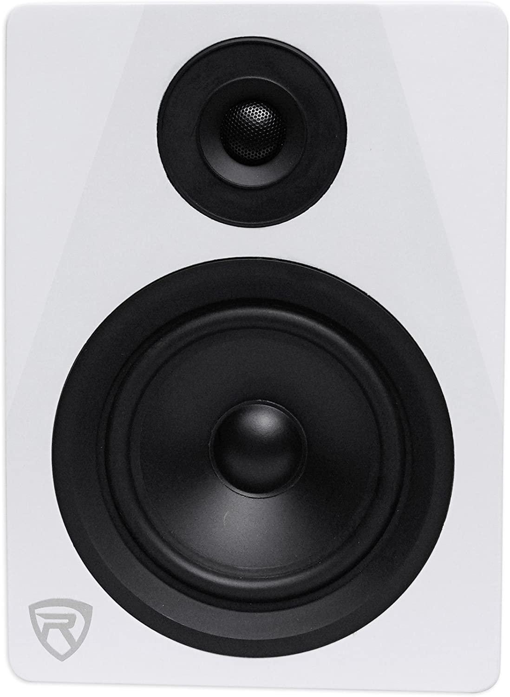 Rockville 2-Way 150W White Active/Powered Studio Monitor Speaker, 5.25