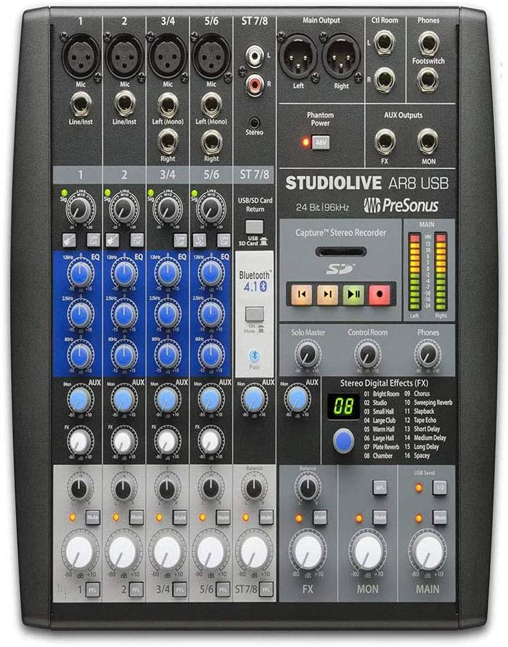PreSonus StudioLive AR8 USB 8-Channel hybrid Performance and Recording Mixerwith 1 Year Free Extended WarrantyandMicrofiber