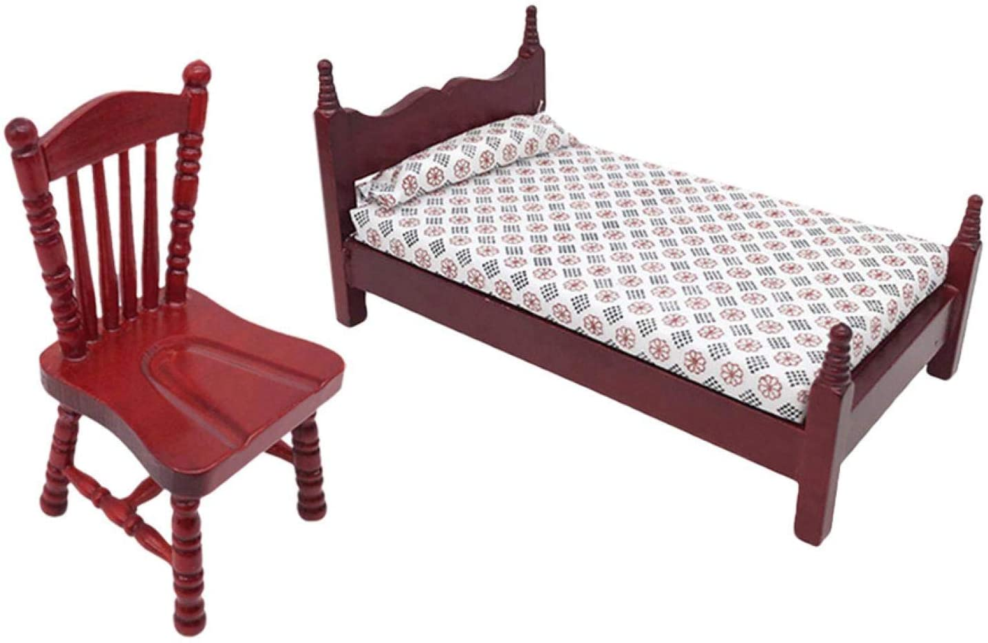 RDTIAN Miniature Rocking Chair + Bed for 1:12 Dollhouse Wooden Furniture Model Set Children's Dollhouse Decoration Home Accessories (Multicolor)