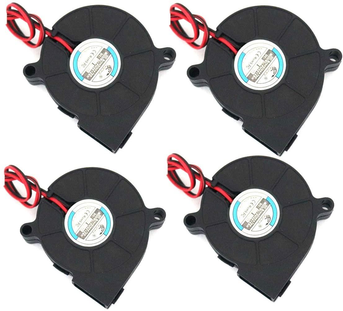 4-Pack DC 12V 3D Printer Cooling Fan 5015 2Pin Brushless Turbo Blower Cooling Fan 50x50x15mm