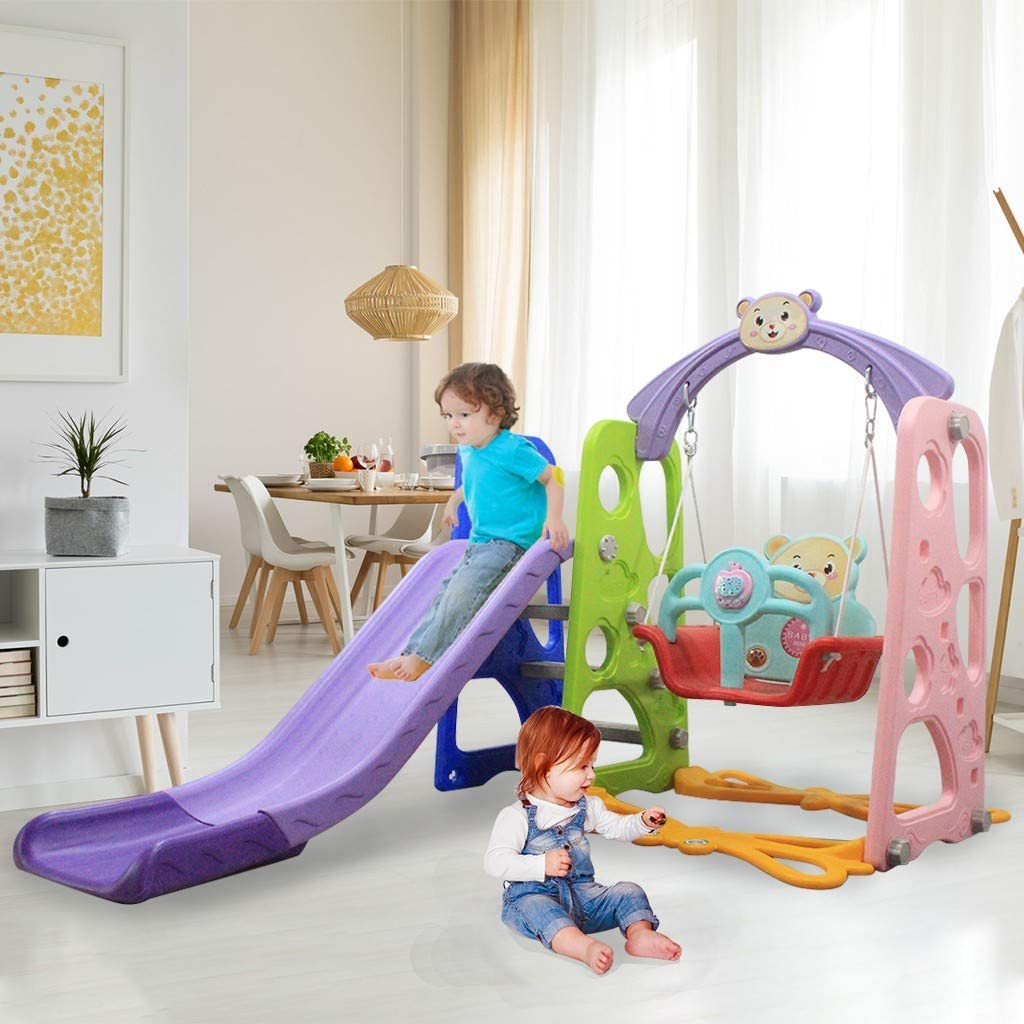 Jieson Toddler Kids Playground Slide and Swing Set with Basketball Hoop Children Climber Playset Toy for Kids Indoor or Backyard