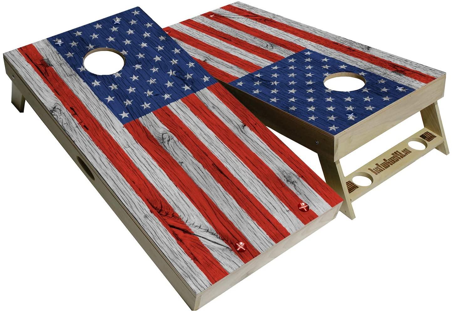 BackYardGamesUSA American Flag Series - Premium Cornhole Boards w Cupholders and a Handle - Includes 2 Regulation 4' x 2' Cornhole Boards w Premium Birch Plywood and 8 Cornhole Bags