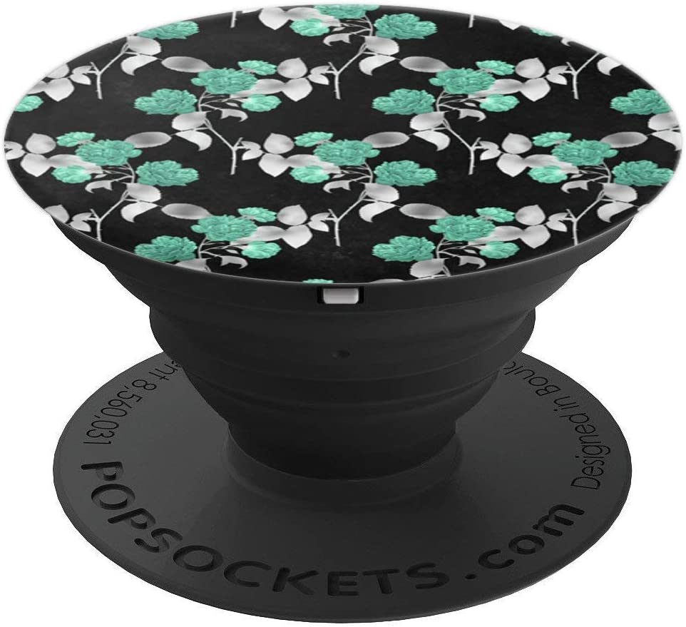 Black Green Flowers Floral Print Elegant Gothic Dark PopSockets Grip and Stand for Phones and Tablets