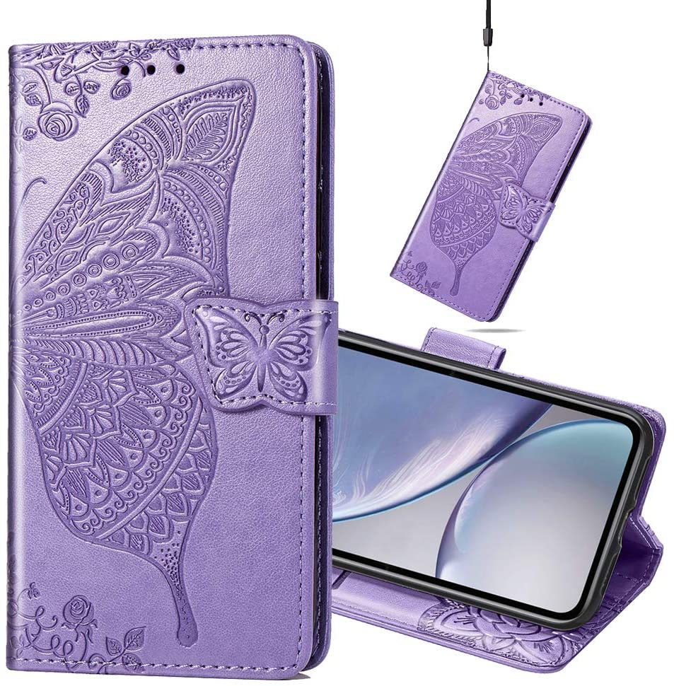 MEIKONST LG G8/ LG G8 ThinQ Case, Embossed Light Purple Butterfly Soft PU Leather Flip Case with Stand Magnetic Closure Protective Cover for LG G8/ LG G8 ThinQ,SD Light Purple Butterfly