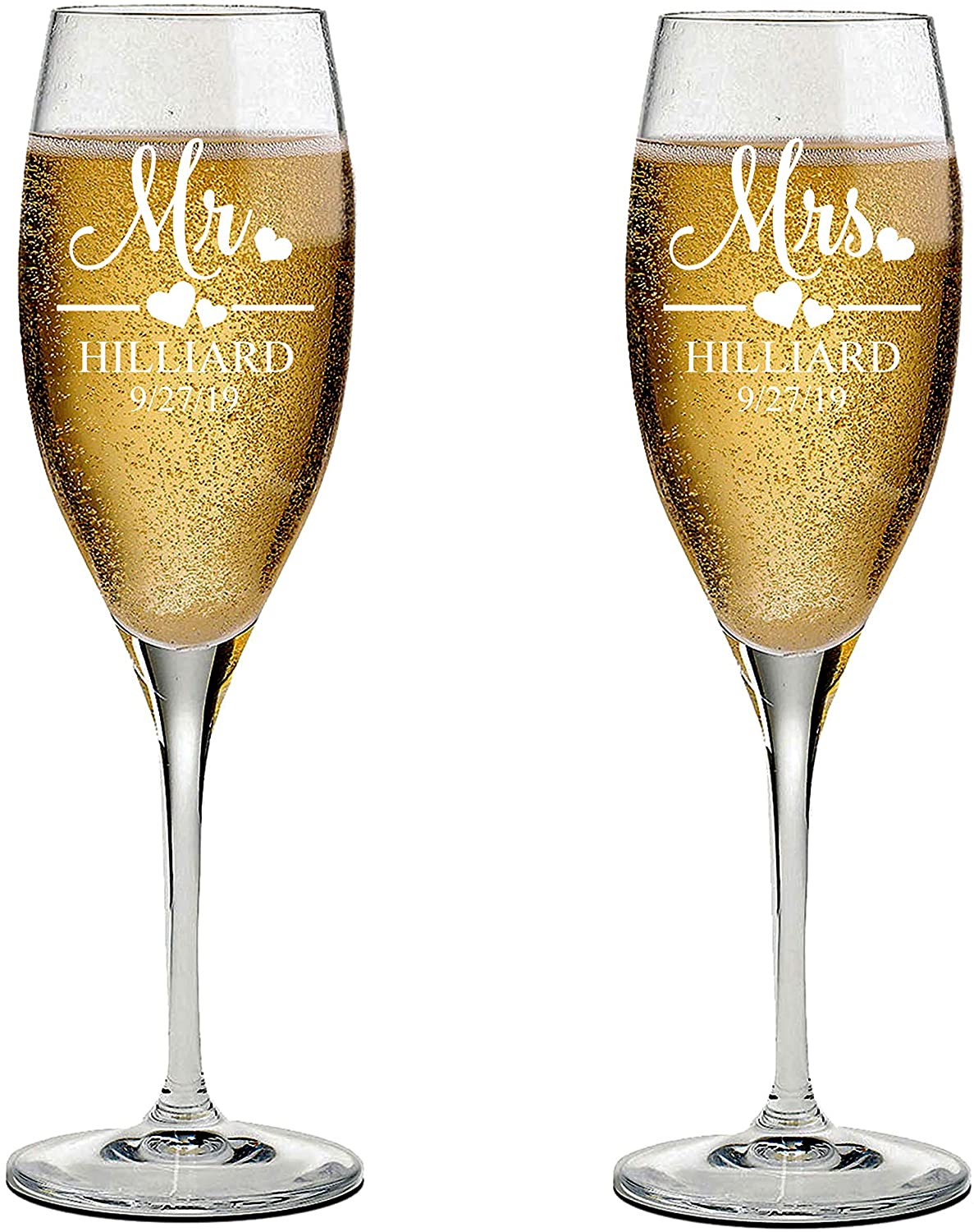 Mr and Mrs Wedding Toasting Champagne Flutes, Set of 2, Laser engraved Tosting Flutes Engraved Personalized Glasses for Bride and Groom