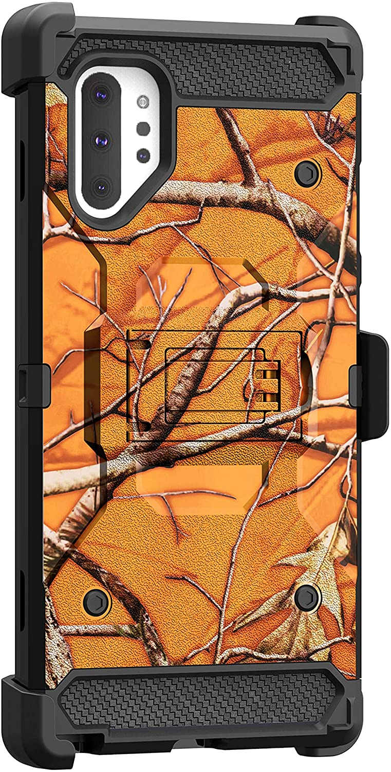 MINITURTLE Compatible with Samsung Galaxy Note 10 Plus (6.8) Triple Layer Combo 360 Degree Rotating Belt Clip Case [Max Guard] - Orange Tree Camo