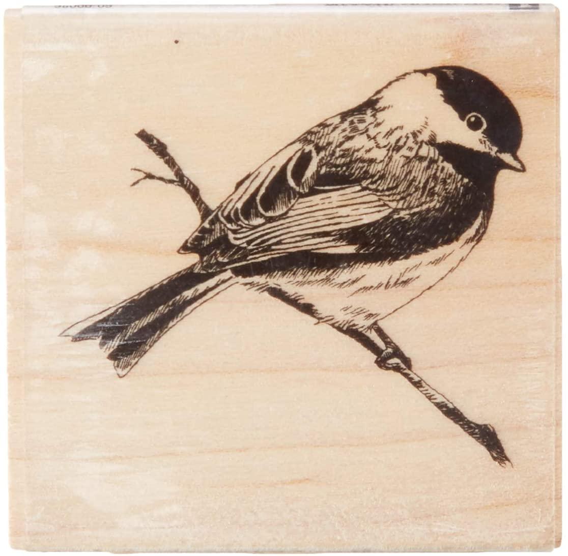 Inkadinkado Chickadee on a Branch Wood Stamp, 2'' W x 2'' L
