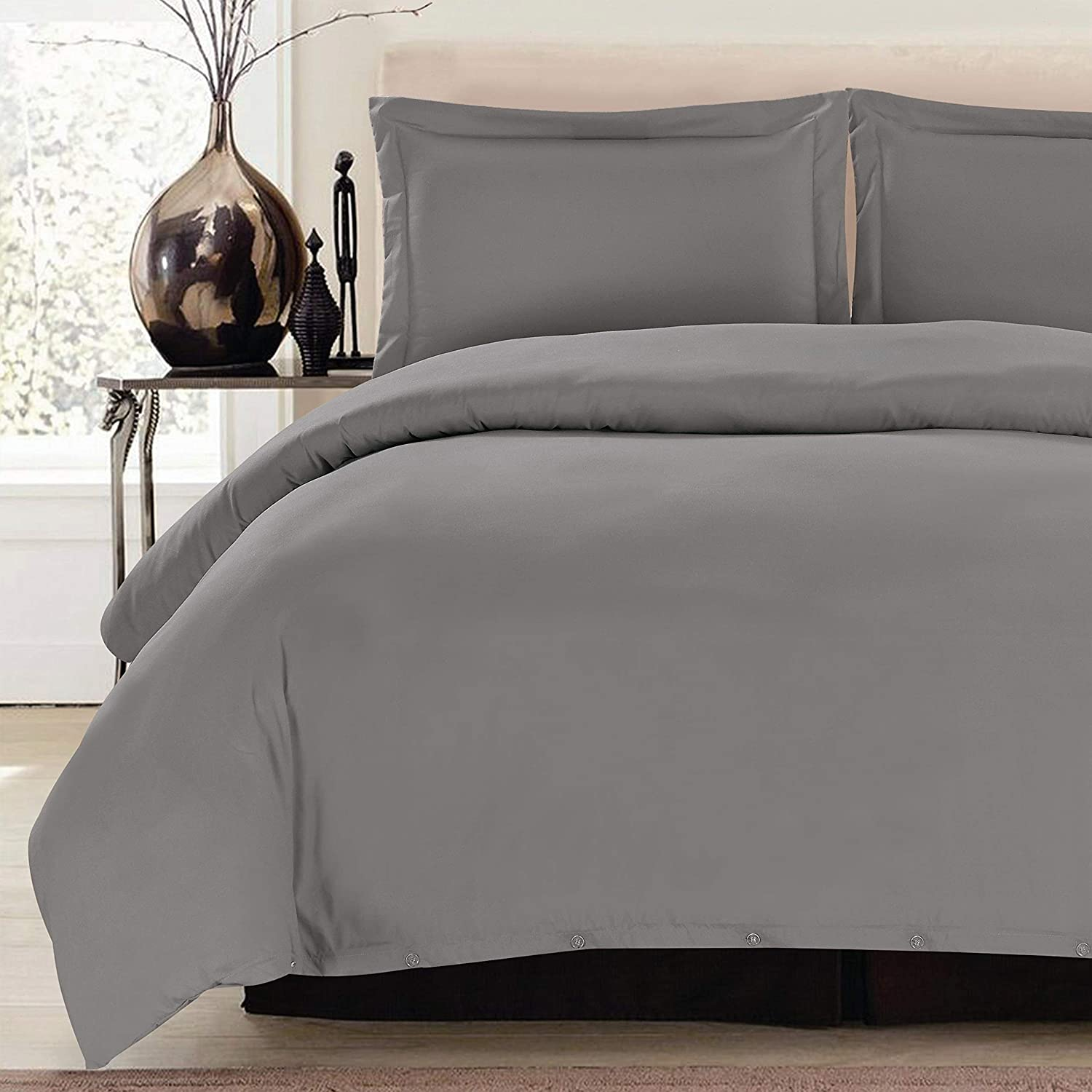 Lux Decor Collection Duvet Cover Set, 1800 Count Egyptian Quality King Soft Premium Bedding Collection, 3 Piece Luxury Soft, 2 Pillow Shams (Dark Grey, King/California King)