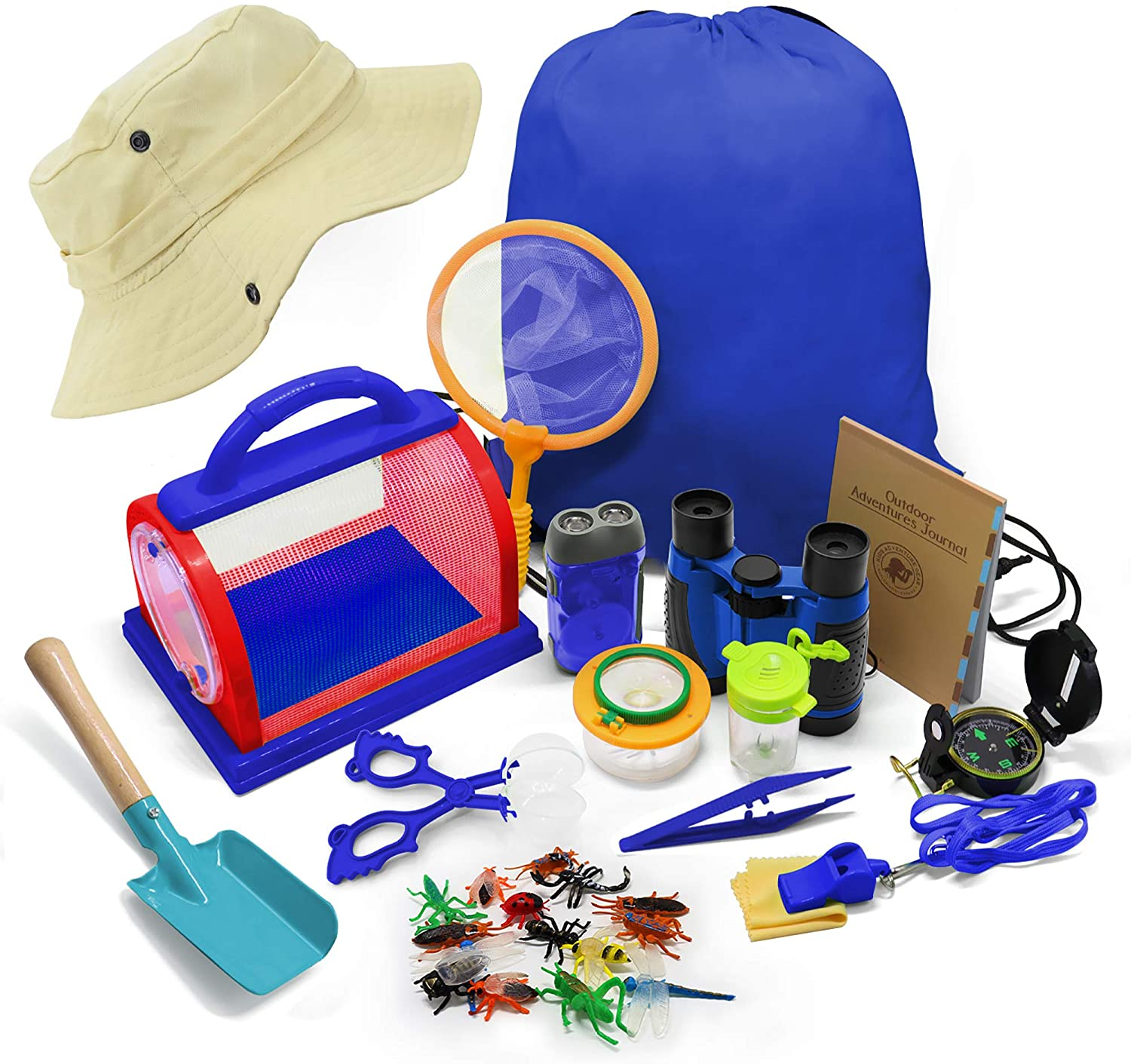 30PCS Outdoor Explorer Set Bug Catcher Nature Exploration Kit Insect Observation Tools w/Binoculars Compass Critter Case Educational Toys Kids Gift for Boys & Girls Adventure Camping Hiking Fishing