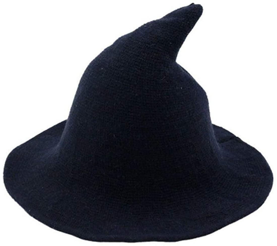fyclemt Modern Witch Hat Wool Halloween Knit Cap Women Party Costume