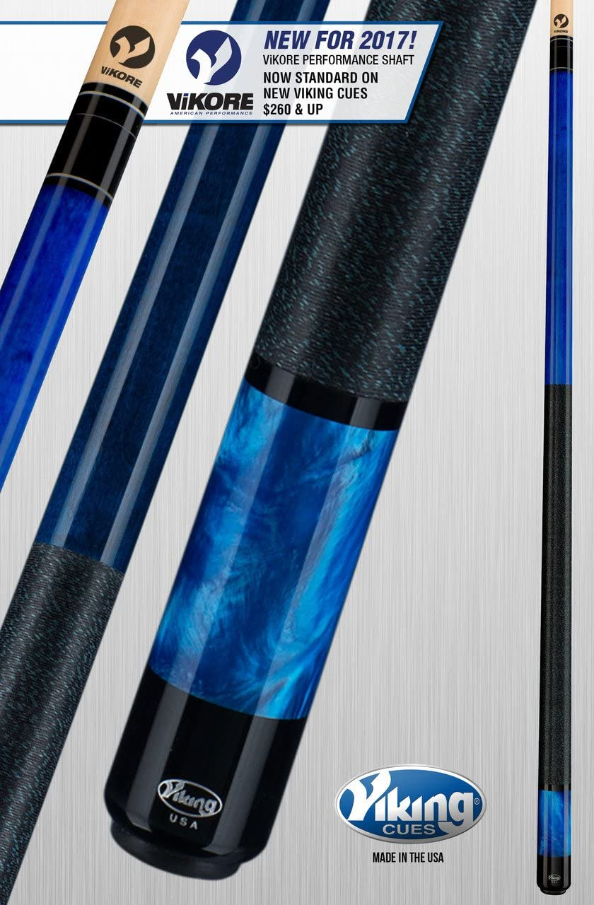 Viking A281 Pool Cue Stick Ocean Blue Stain Northwoods Maple Premium Pearl Sleeve Quick Release Joint ViKORE Shaft 18, 18.5, 19, 19.5, 20, 20.5, 21 oz.