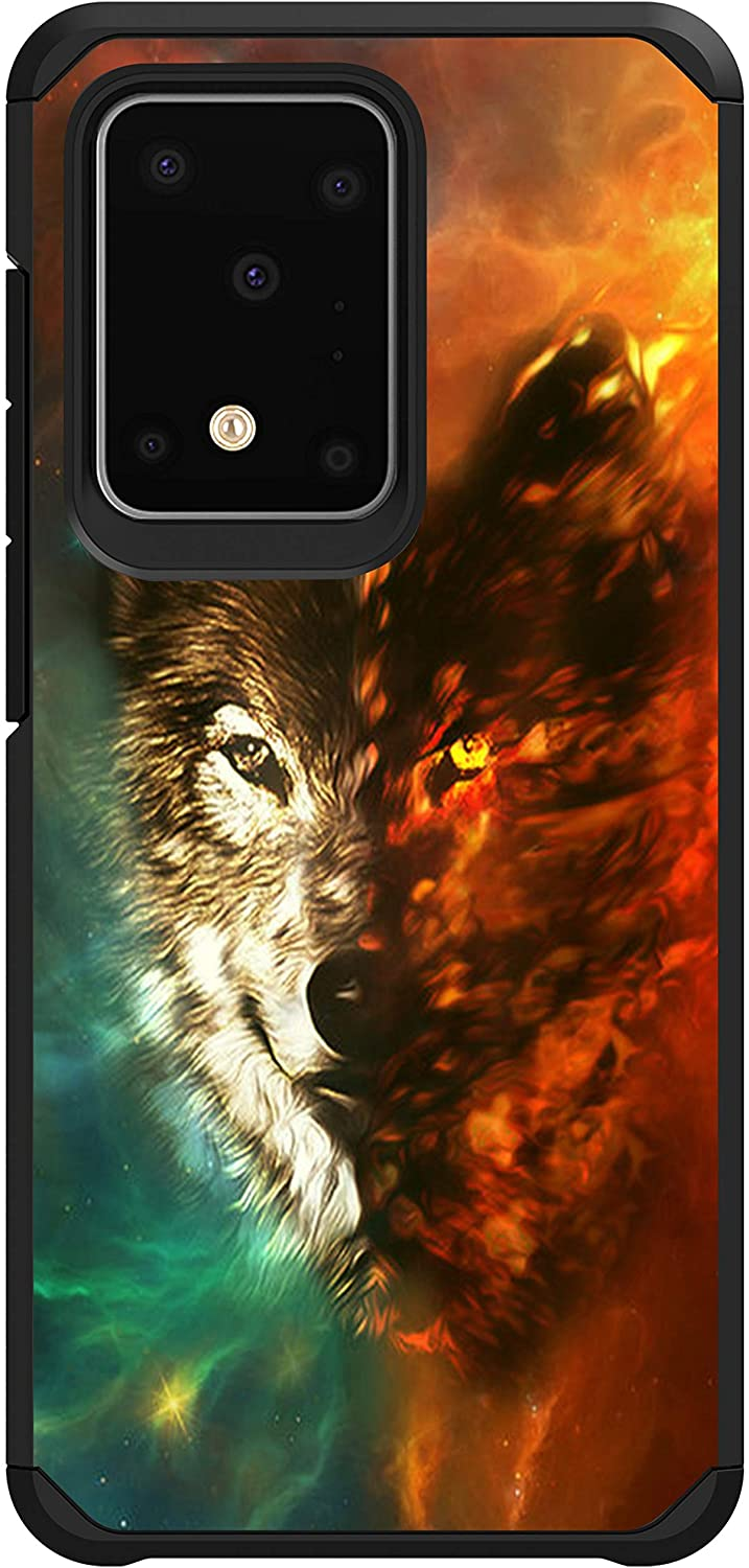 MINITURTLE Compatible with Samsung Galaxy S20 Ultra (6.9) Dual Layer Hard Shell Hybrid Protective Case - Wolf
