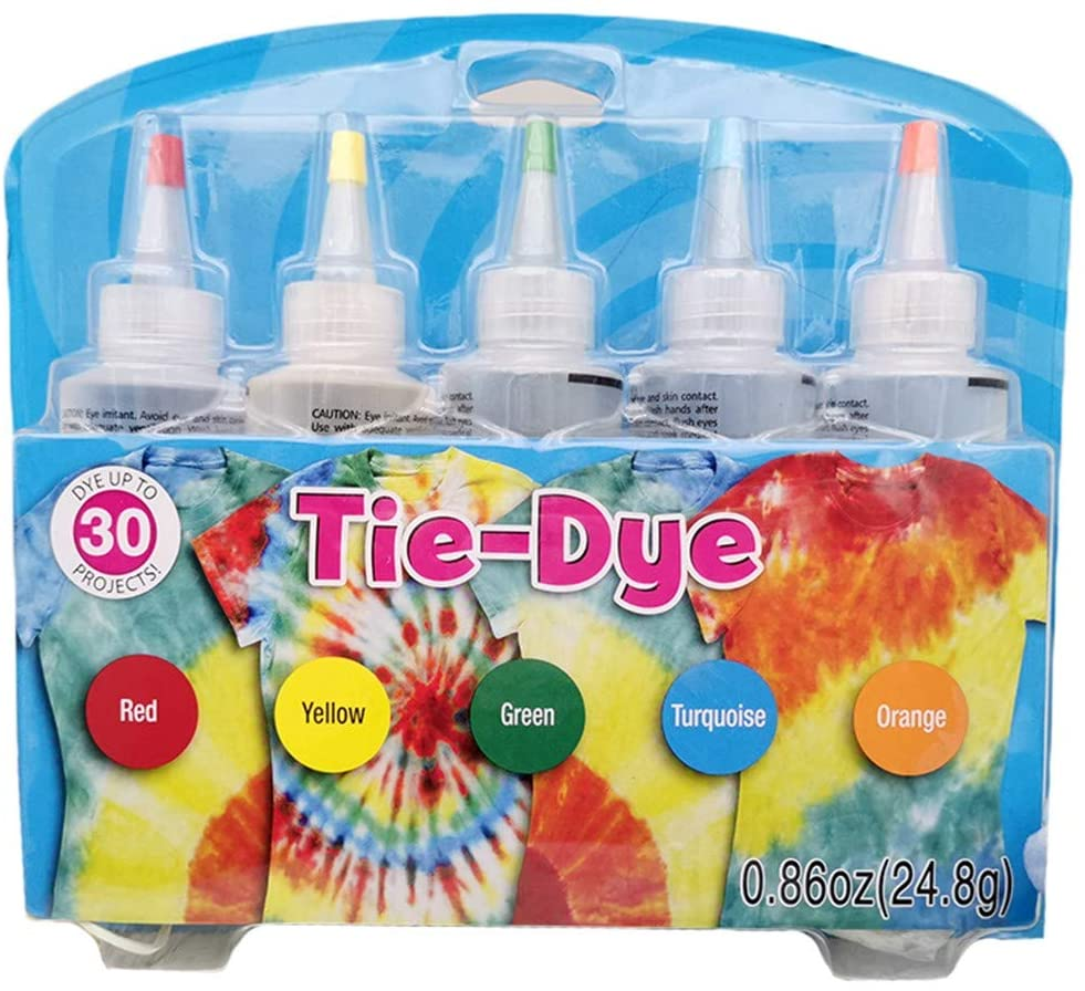 Tie Dye DIY Kit, One-Step Tie-dye Kit 5 Colors DIY All-in-1 Safe Permanent Non-Toxic for Family Friends Groups Party Supplies