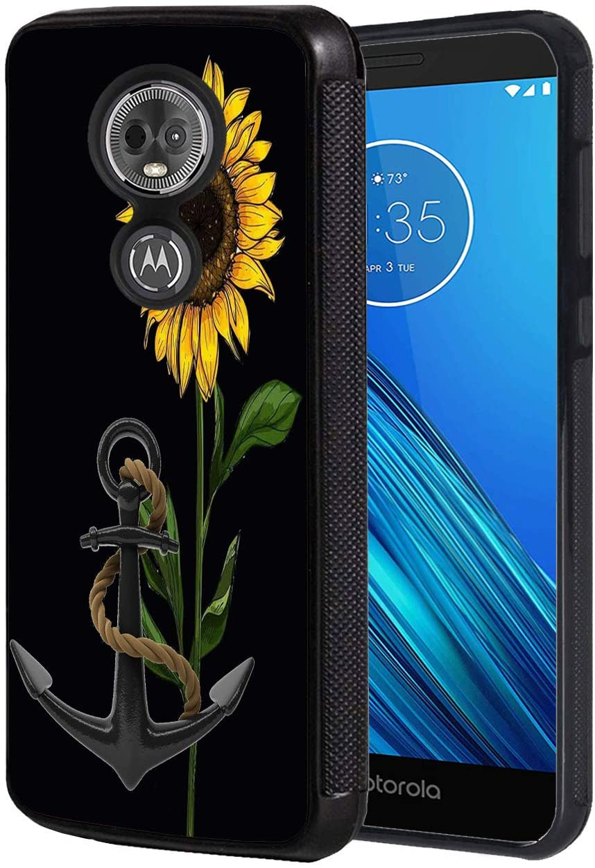 Moto G6 Play Case, Moto E5 Case, Anti-Scratch Shockproof Silicone TPU Back Protective Cover Case, Suitable for Motorola Moto G6 Play, Sunflower Anchor