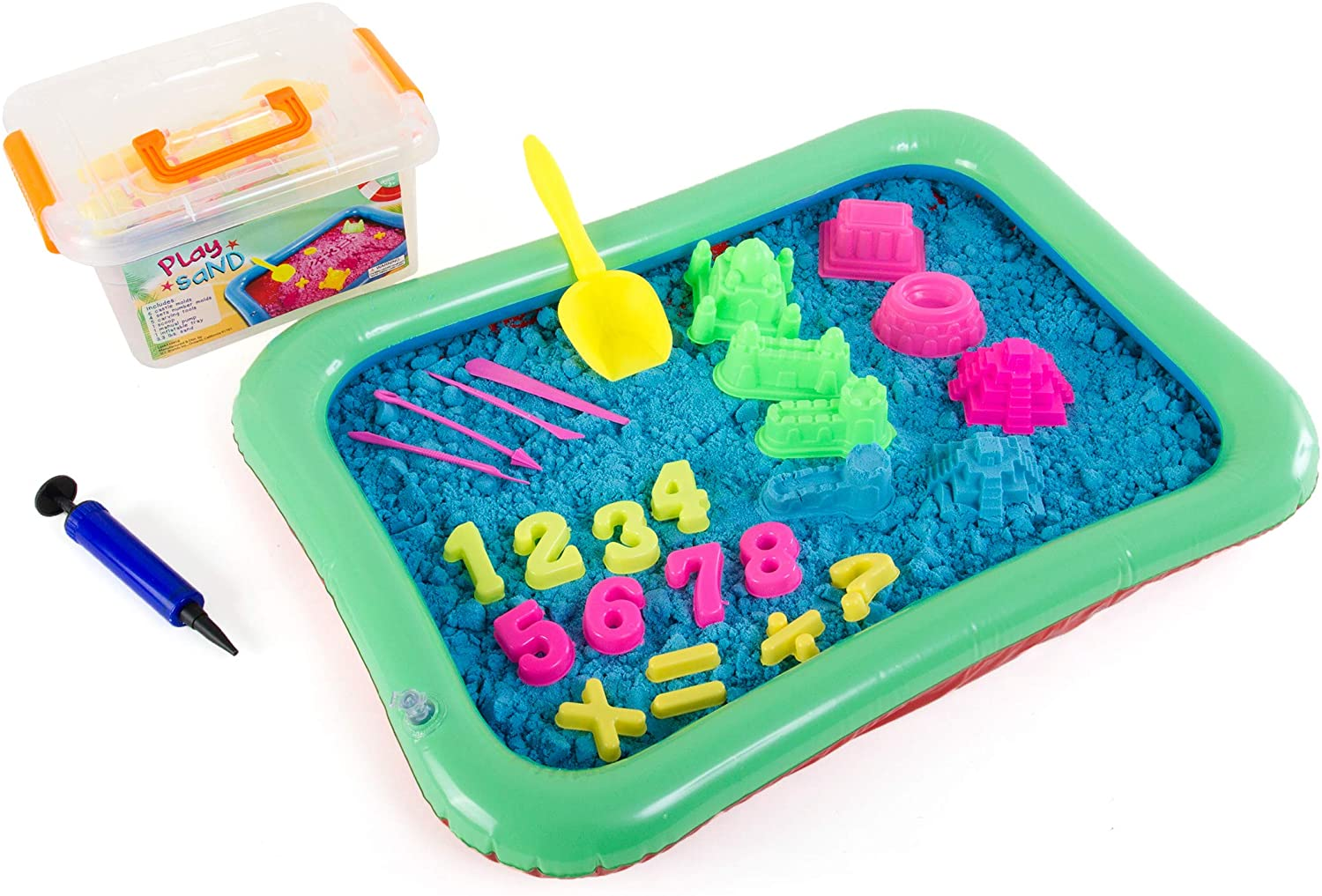 Play Sand Kit - 32 pc Play Sand Sensory Toy Set with 3.3lbs of Colored Magic Play Sand, Inflatable Sand Box, Castle Molds, Carving Tools, Shovel, Air Pump, Storage Bucket & More (Blue)
