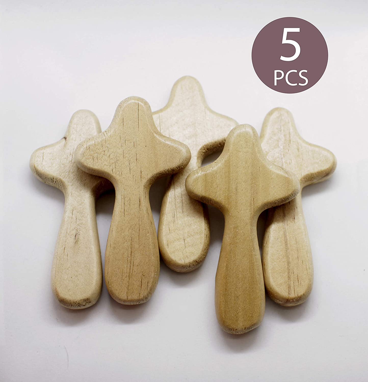 Waymaker Unfinished Wood Palm Cross - 5 Pack Crosses, 2.1 x 4 x 0.6-Inch Palm Cross for DIY Craft, Religious Home Decoration (Beech)