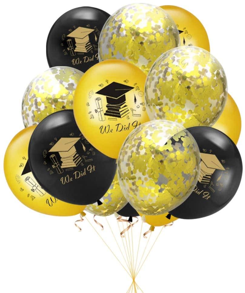 Amosfun Graduation Letters Doctor Hat Printing Balloons Set for 2020 Graduation Celebration Party 15 Pcs