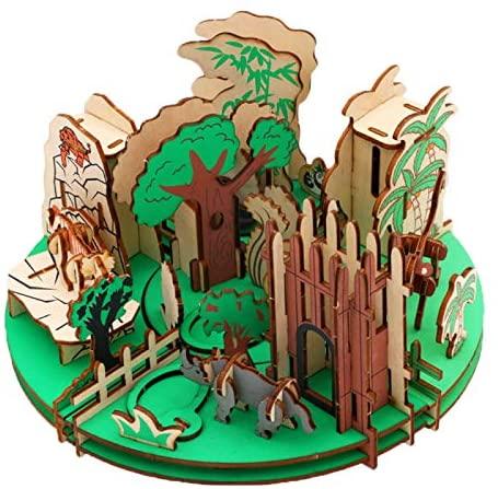 ECLENYES DIY 3D Wooden Forest Park Assembled Toy Simulation Forest Park Craft Gift