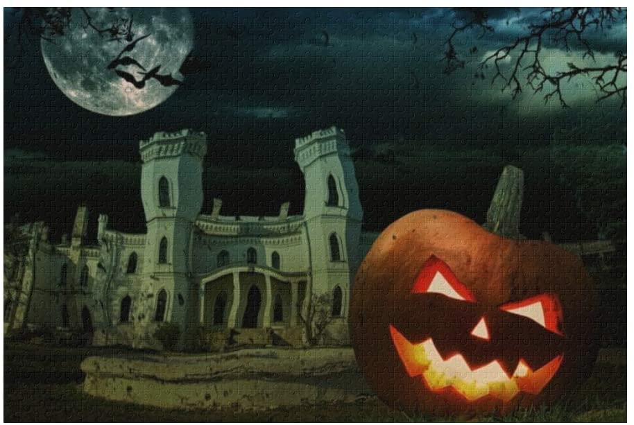 Custom 1000 Pieces Puzzle Funny Novelty Jigsaw Puzzle Halloween Scary Castle Moonlight DIY Toys for Adults Children Gift Home Decoration