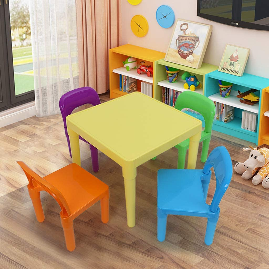 Ywoow Delivered from US Warehouse, Plastic Kids Table and 4 Chairs Set, Set for Boys OR Girls Toddler