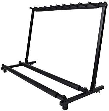 Guitar Stand 9 Holder Guitar Folding Stand Rack Band Stage Bass Acoustic Guitar,Soft Black Neoprene Rubber Tubing to Protect Your guitars