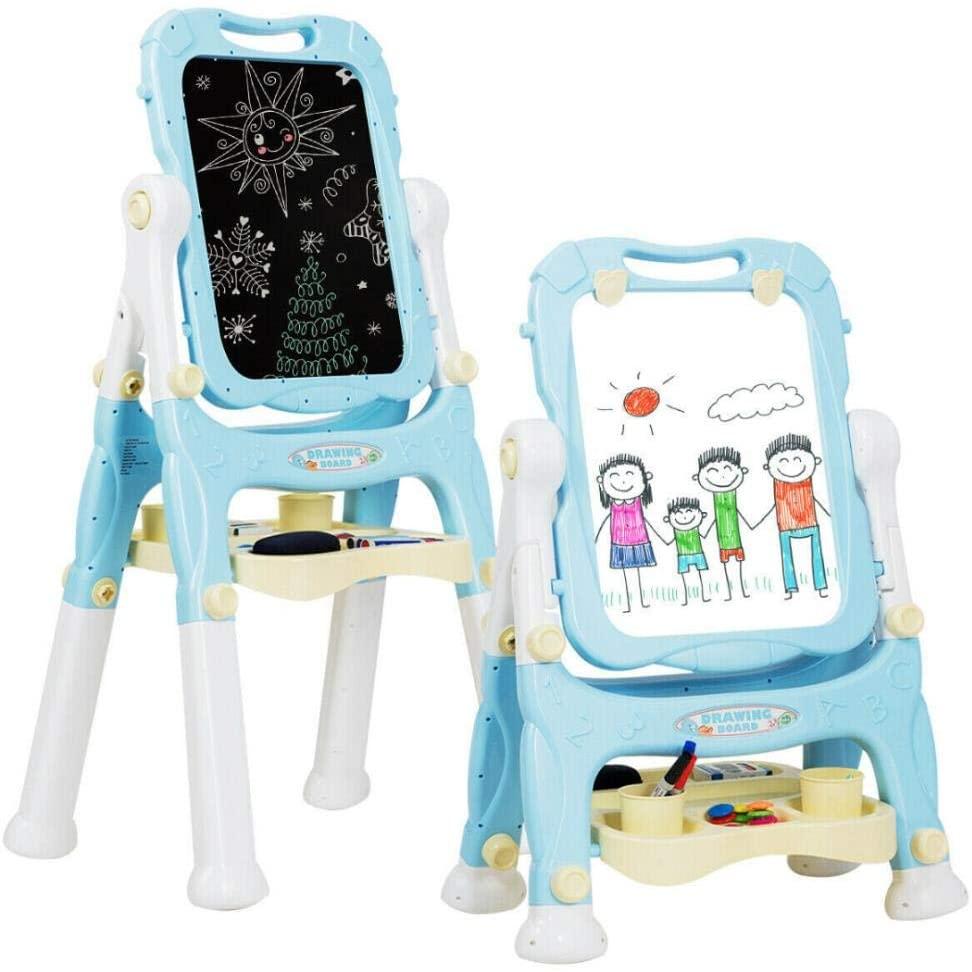 chuihui Kids Easel, Tabletop Easel for Kids Adjustable Height Double Sided Magnetic Art Easel Safe