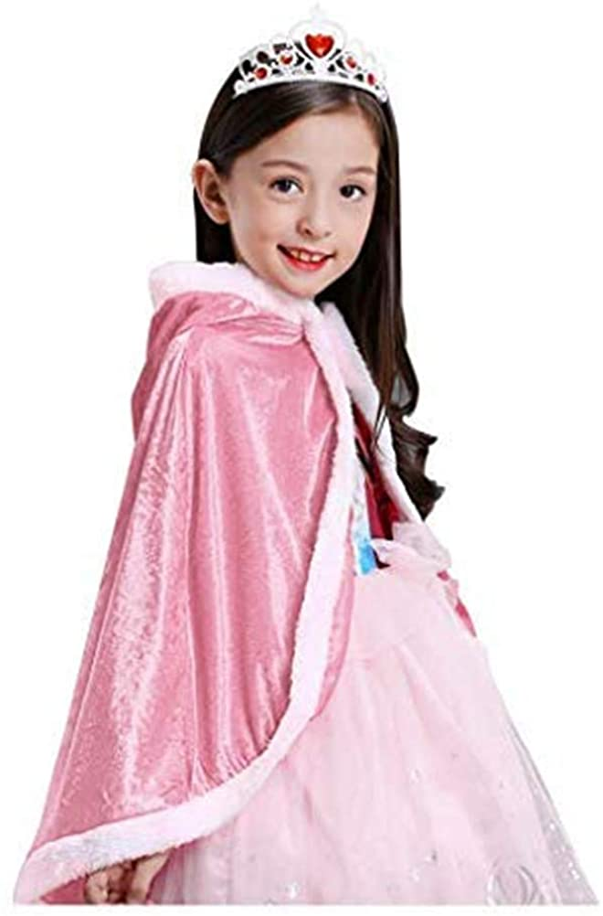 Princess Hooded Cape Cloaks Corded Velveteen Christmas Halloween Cloak Party Dress up Accessories for 3-10 Years Kids Girls