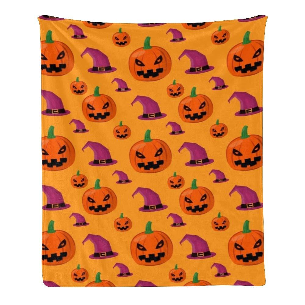 Personalized Kids Fleece Blanket Custom Halloween Pumpkin Witch Hat Baby Throw Blanket for Bed (30 x 40 inches)