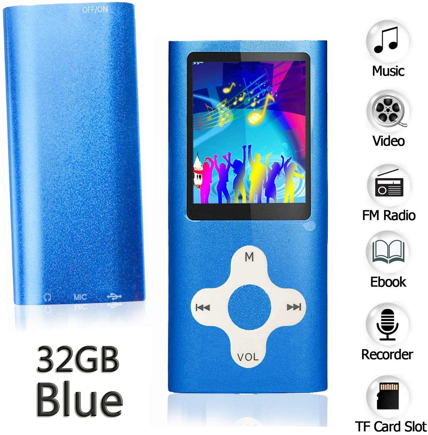 Ploveyy MP3 Player MP4 Player Including a 32GB Micro SD Card,extensible 64 GB,Mini USB Port 1.8 LCD, with Photo Viewer, E-Book Reader, Voice Recorder & FM Radio,Video/Media/Music Player (32GB-Blue)
