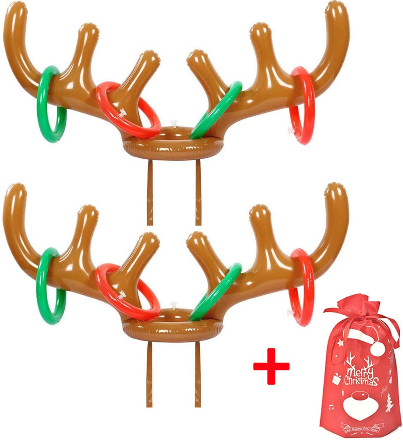 MODOLO 2 to 4 Players Inflatable Reindeer Antler Ring Toss Game for Christmas Holiday Party Game (2 Antlers, 8 Rings &1 Gift Bag)
