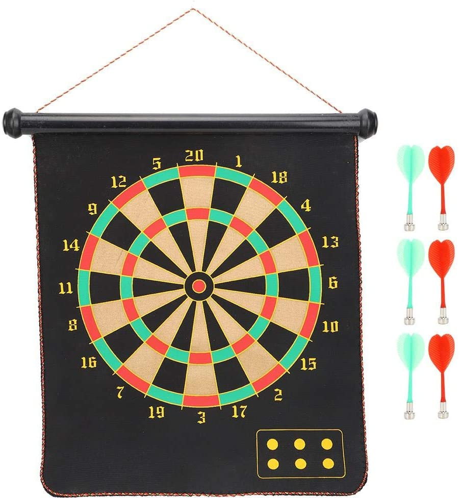 VGEBY Dartboard, 17inch Magnetic Dart Board Hanging Dartboard Family Toy Leisure Sports with 6 Dart