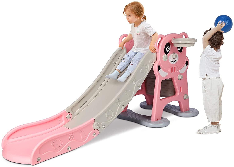 JOYLDIAS Freestanding Kids Slide, Baby Folding Slide Climber Equipment Set with Basketball Hoop and Ball, Extra Long Slide, Easy Setup, Sturdy Baby Playground Toddler Toy Gift Game Playset Indoor