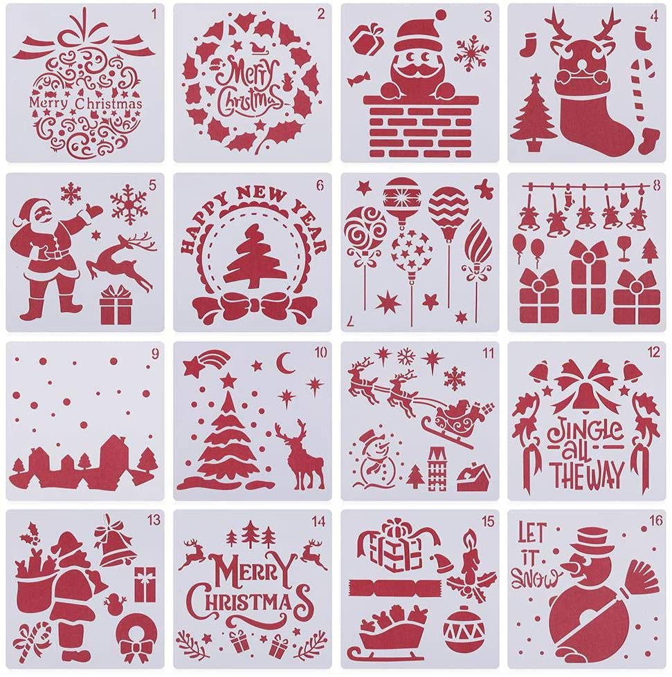 Christmas Layering Stencils DIY Craft Scrapbooking Stamp Album Walls Painting Decor Embossing Paper Card Template(16pcs,B)