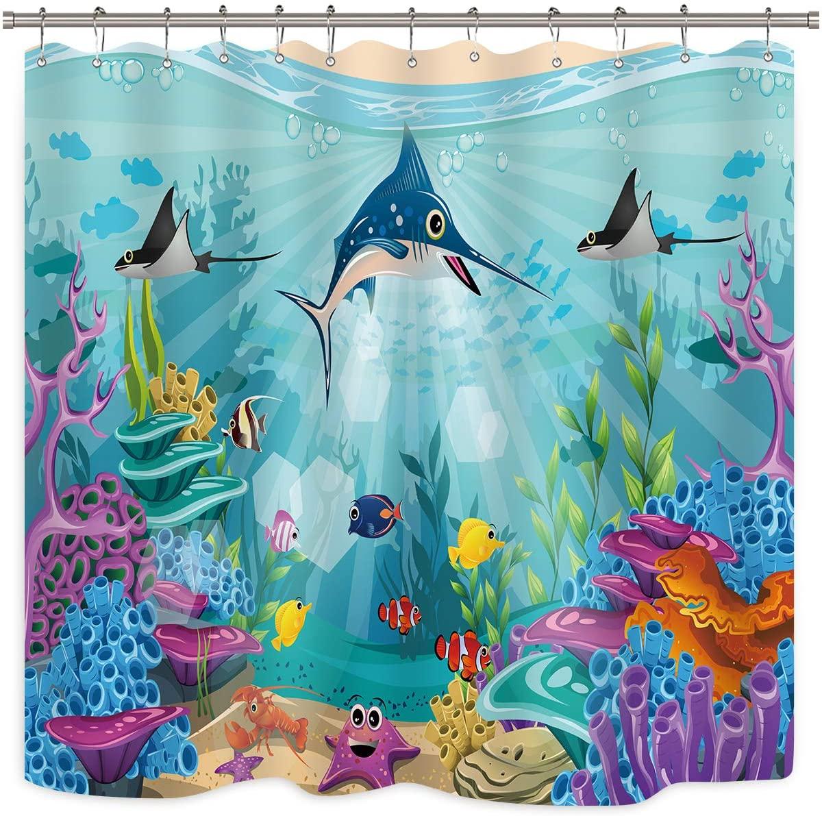 Riyidecor Tropical Shark Shower Curtain Coral Undersea World Animal Starfish Cartoon Fish Colorful Kid Plant Scenery Nature Fabric Waterproof Home Bathtub Decor 12 Pack Plastic Hooks 72x72 Inch