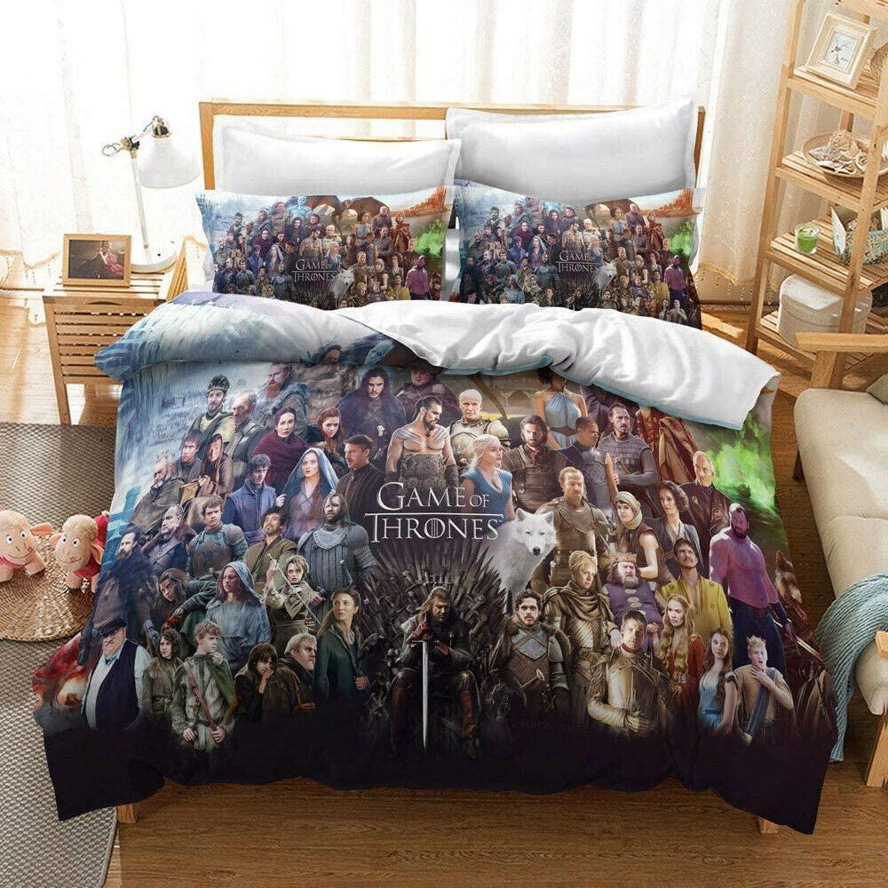 Lianai Game of Thrones Bedding Set Queen Size Teen Boys Conquest Movie Duvet Cover Set 3 Piece, 1 Duvet Cover + 2 Pillowcases, No Comforter