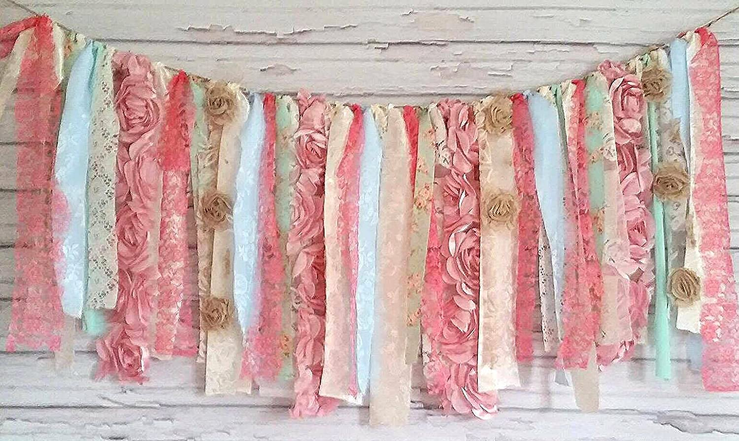 Pink, Blue & Mint Shabby Chic Rag Tie Garland: ~ Photo Shoot ~ Wedding ~ Birthday ~ Nursery ~ Bridal Shower ~ Highchair Banner ~ Gender Reveal Parties ~ Decorations ~ Wall Decor! (3 FEET WIDE)