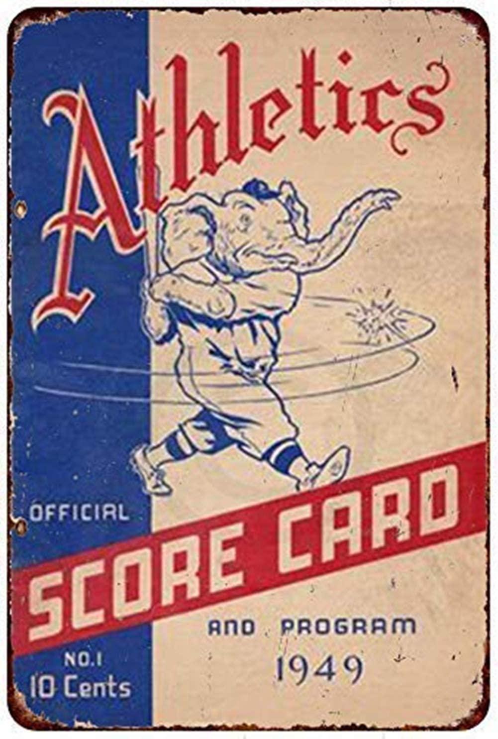 MAIYUAN Metal Tin Signs-New Tin Sign Philadelphia Athletics 1949 scorecard Vintage Aluminum Metal Sign 8x12 Inches (H4-P047)