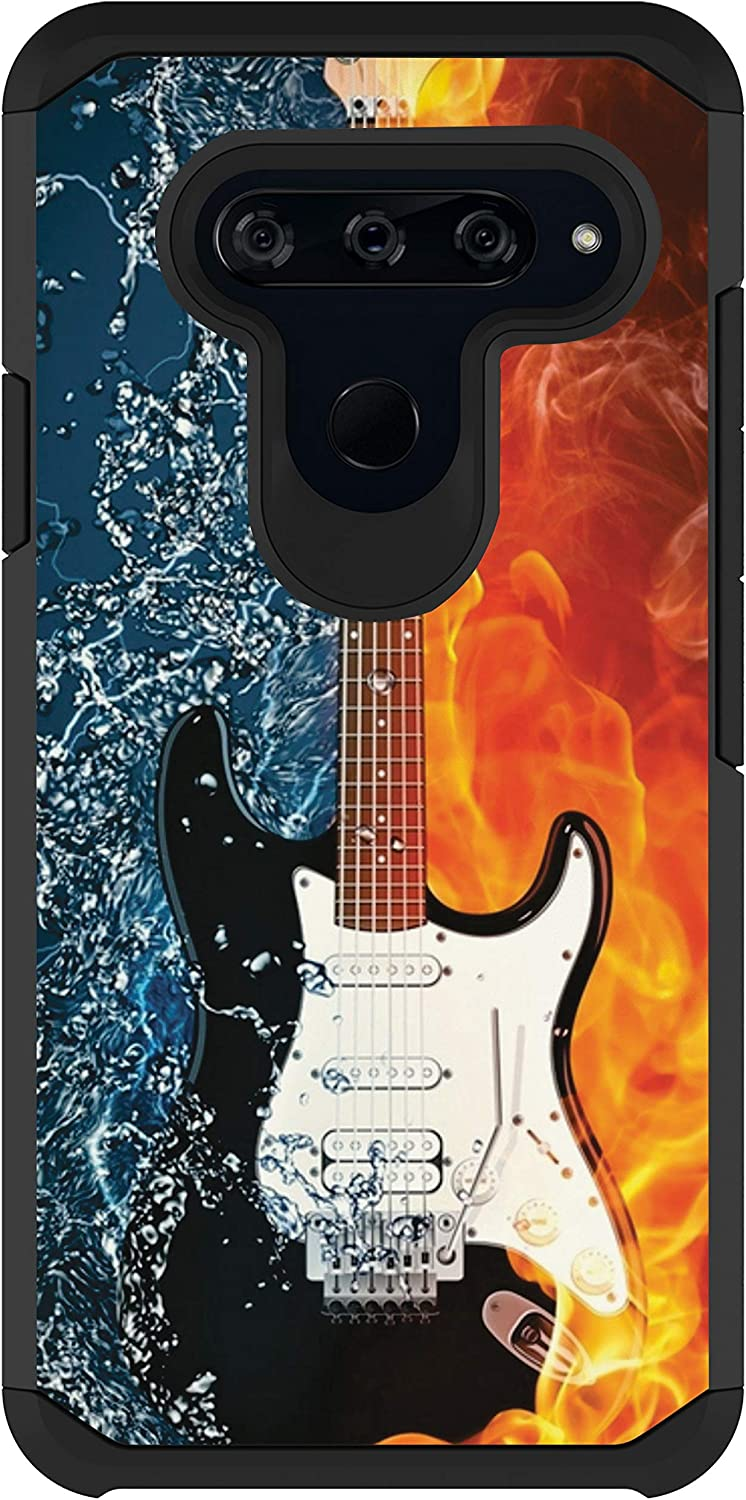 MINITURTLE Compatible with LG V40, LG V40 ThinQ Phone Cover Slim Fit Bumper Hard Shell TPU Shockproof Case [Defender] - Water Fire Guitar