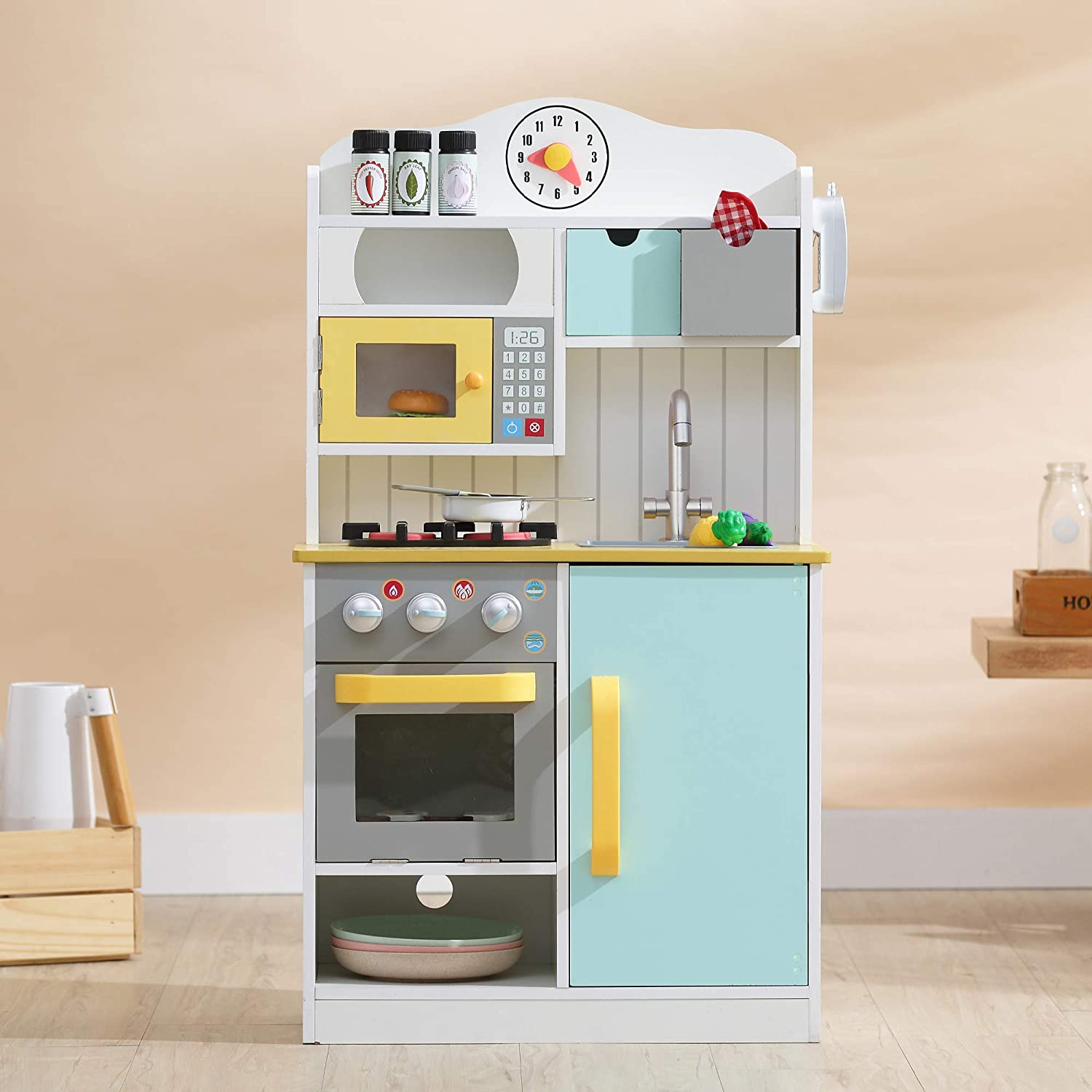Teamson Kids Little Chef Florence Classic Kids Play Kitchen Toddler Pretend Play Set with Accessories, 2 Drawers, and Clock White Green Yellow