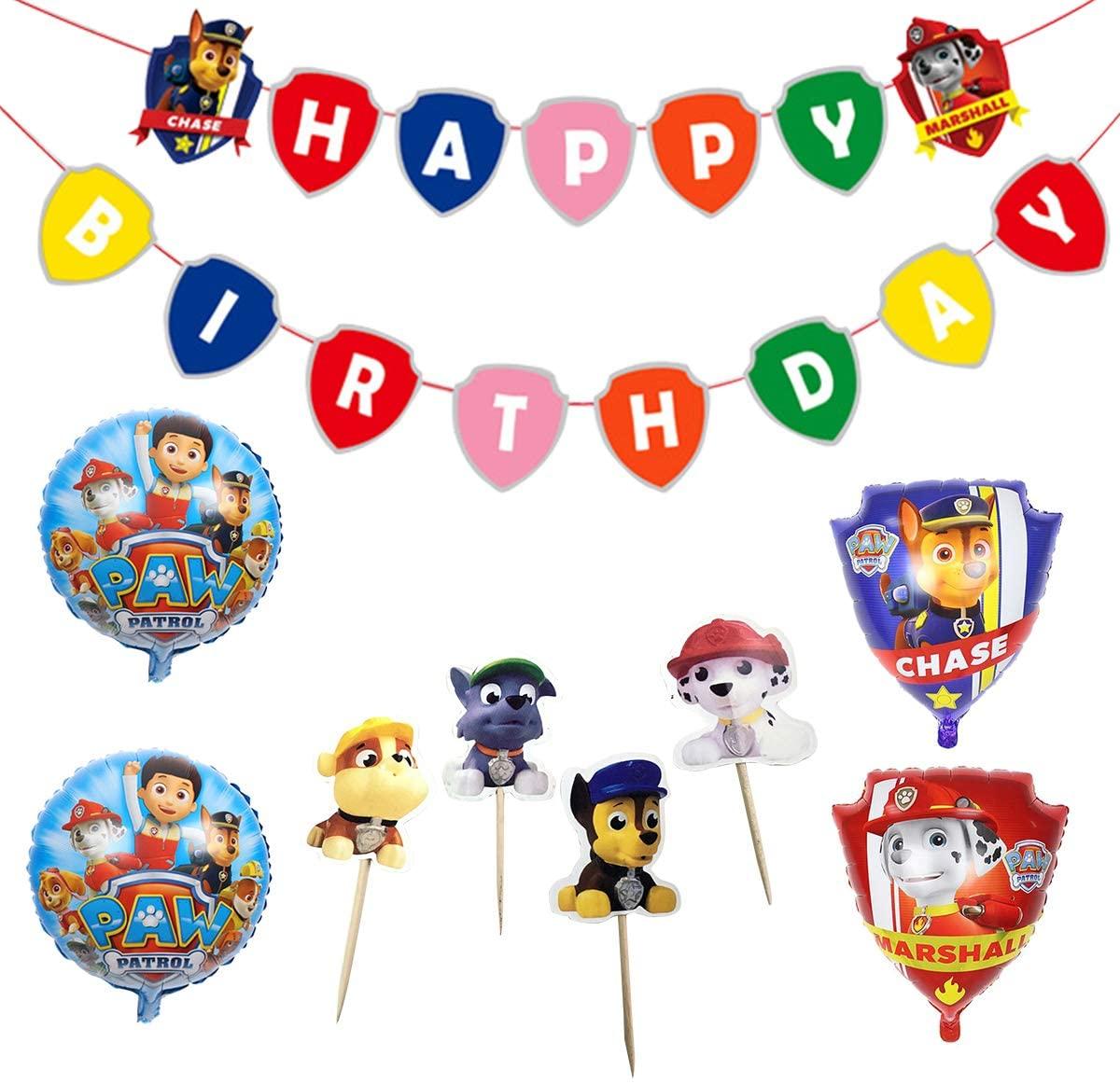 paw patrol birthday decoration party set supplies boys kids cute dog happy birthday banner garland balloon cake topper 29 pieces set